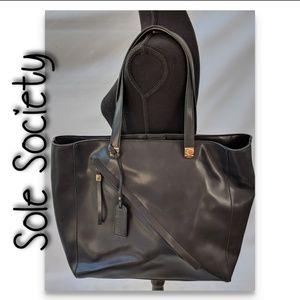 Sole society vegan leather shoulder tote black